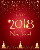 2018 Happy New Year snowy greeting card Stock Photography