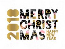 2018 Happy New Year Christmas Greeting card. Happy New Year, Merry X-mas Lettering. Greeting card. Drawn  elements. Black background. Gold silver pink black art Stock Photography
