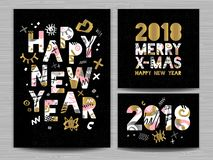 2018 Happy New Year Christmas Greeting card. Happy New Year, Merry X-mas Lettering. Greeting card. Drawn vector elements. Black background. Gold silver pink Stock Photos