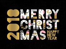 2018 Happy New Year Christmas Greeting card. Happy New Year, Merry X-mas Lettering. Greeting card. Drawn vector elements. Black background. Gold silver pink Stock Photography