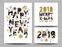 2018 Happy New Year Christmas Greeting card. Happy New Year, Merry X-mas Lettering. Greeting card. Drawn vector elements. White background. Gold silver pink Royalty Free Stock Photos