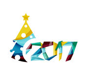 Happy New Year and Christmas holiday greeting card elements. Geometric banner Royalty Free Stock Photos