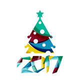 Happy New Year and Christmas holiday greeting card elements. Geometric banner Stock Photography