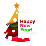 Happy New Year and Christmas holiday greeting card elements. Geometric banner Stock Photo