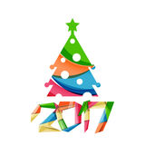 Happy New Year and Christmas holiday greeting card elements. Geometric banner Royalty Free Stock Images