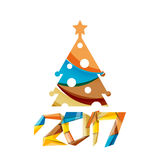 Happy New Year and Christmas holiday greeting card elements. Geometric banner Royalty Free Stock Photo
