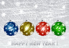 Happy New Year 2014. Christmas illustration with colorful multi-colored balls.Christmas Greeting Card 2014.Bright winter background with beautiful  toy balls Royalty Free Stock Images