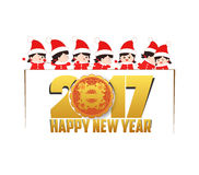 Happy new year 2017 with christmas kids banner.  stock illustration
