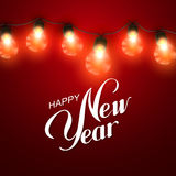 Happy New Year. Christmas Lights. Royalty Free Stock Photo