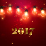 Happy New 2017 Year. Christmas Lights. Vector Holiday Illustration of Luminous Electric Garland And 2017 Label With Golden Paint Texture. Shiny light Bulbs And Royalty Free Stock Photography