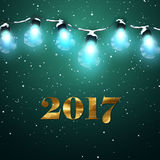 Happy New 2017 Year. Christmas Lights. Vector Holiday Illustration of Luminous Electric Garland, Snow And 2017 Label With Golden Paint Texture. Shiny light Stock Photos