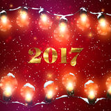 Happy New 2017 Year. Christmas Lights. Vector Holiday Illustration of Luminous Electric Garland, Snow And 2017 Label With Golden Paint Texture. Shiny light Royalty Free Stock Photography