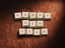 Happy New Year - Christmas made of computer keys, background Stock Photo