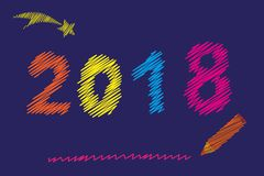 Happy New Year 2018. Christmas multi colored knitted numbers. Embroidery numbers. Vector. Illustration Royalty Free Stock Photos