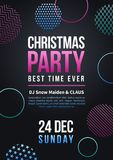 Happy new year and christmas party vector poster in colorful funky style with xmas pattern elements Stock Photos