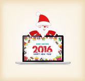 Happy new year 2016, christmas with santa claus and gift on laptop.  royalty free illustration