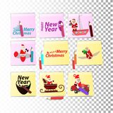 Happy new year and christmas. santa. Claus traveler and inscriptions. set of stickers. illustration for your design Royalty Free Stock Photos