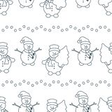 Christmas, New Year 2019 seamless pattern. Happy New Year 2019 and Christmas seamless pattern. Vector illustration with snowman and Christmas tree. Design for royalty free illustration