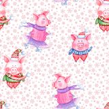 2019 Happy New Year and Christmas seamless pattern with watercolor funny pigs. 2019 Happy New Year and Christmas seamless pattern illustration with watercolor royalty free illustration
