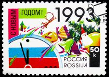 Happy New Year! 1993, New Year and Christmas serie, circa 1992. MOSCOW, RUSSIA - FEBRUARY 20, 2019: A stamp printed in Russia shows Happy New Year! 1993, New stock image
