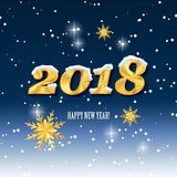 2018 happy new year and Christmas snow. Golden numbers on a snowy background Royalty Free Stock Photography