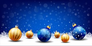 Free Happy New Year Christmas Snowing Ball Background, Text Input Box,Blue Background Stock Images - 128862104