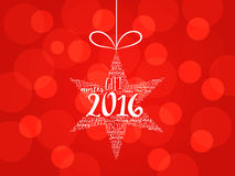 2016 Happy new year. Christmas star word cloud. Holidays lettering collage royalty free illustration