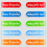Happy new year and Christmas tabs Stock Image