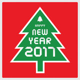 Happy new year 2017 on Christmas tree.  Stock Images