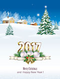Happy New Year 2017.Christmas tree. Christmas tree on the background of a winter landscape Royalty Free Illustration