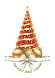 Happy New Year. Christmas tree. Christmas tree with Christmas balls and decorative bow Stock Images