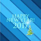 2017 Happy New Year christmas tree. Blue texture. Background vector illustration