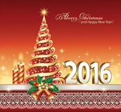 Happy New Year 2016 with a Christmas tree. And candles Royalty Free Stock Photography