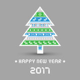 Happy new year 2017 with Christmas tree. For decoration Stock Images