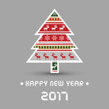 Happy new year 2017 with Christmas tree. For decoration Royalty Free Stock Images