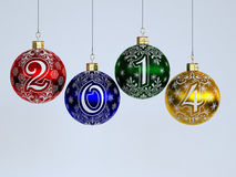 Happy New Year. Christmas-tree decorations. 2014. Happy New Year. Christmas-tree decorations on white background Royalty Free Stock Images