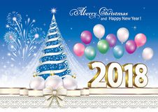 Happy New Year 2018 with a Christmas tree and fireworks. Celebrating the New Year 2018 with a Christmas tree and balloons vector illustration