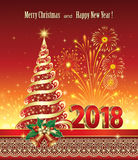 Happy New Year 2018. Christmas tree. Christmas tree with fireworks on a red background Royalty Free Stock Photo