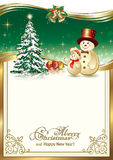 Happy New Year with Christmas tree and funny snowman. Christmas gold frame with tree and snowman Royalty Free Stock Photo