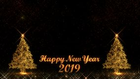 Happy New Year 2019 christmas tree golden light shine particles fireworks background. Happy New Year 2019 christmas tree golden light shine particles fireworks stock illustration