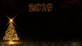 Happy New Year 2019 christmas tree golden light shine particles fireworks background vector illustration