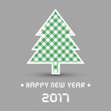 Happy new year 2017 with Christmas tree Royalty Free Stock Photos