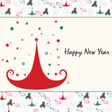 Happy new year christmas tree greeting card Stock Photo