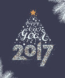Happy New Year 2017. Christmas tree. Illustration for greeting card Royalty Free Stock Photo