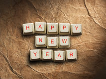 Happy New Year - Christmas tree made of computer keys, background Royalty Free Stock Photo