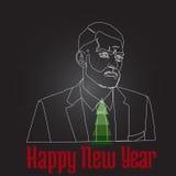 Happy new year and Christmas tree. Man happy new year and the christmas tree Stock Images