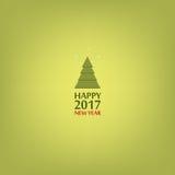 Happy New Year, Christmas tree. Minimalist style. 2017 Stock Photo