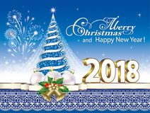 Happy New Year 2018. Christmas tree. New Year tree with fireworks and Christmas decorations on a blue background royalty free illustration