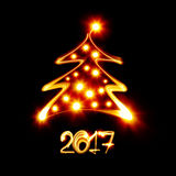 Happy new year 2017. Christmas tree painted by light - Happy new year 2017 Stock Images