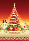 Happy New Year . Christmas tree with snow. Christmas tree with snowmen on a red background Stock Images